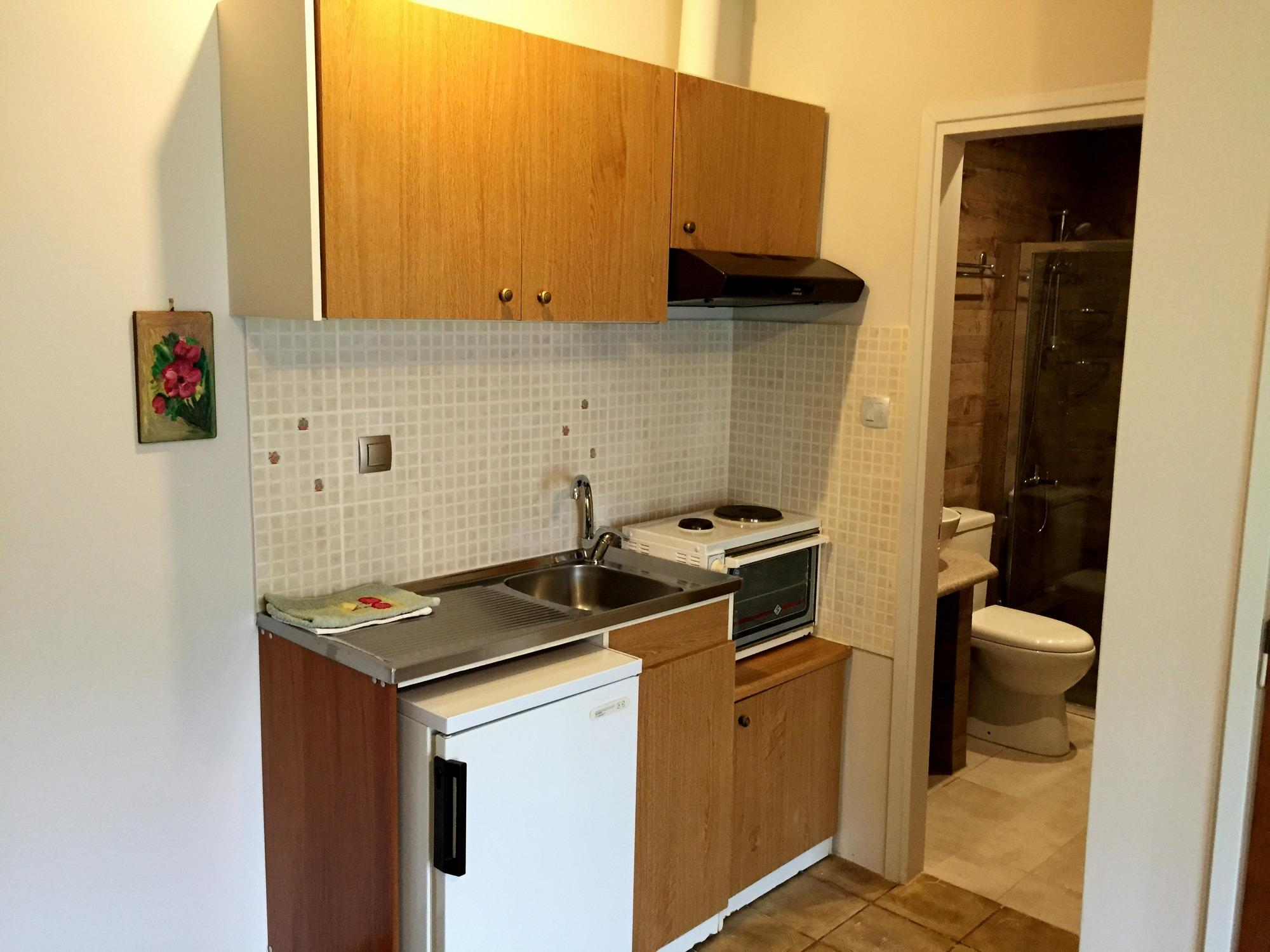 Kitchenette at self catering 4-person apartments with balcony
